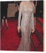 Marion Cotillard Wearing A Silver Wood Print