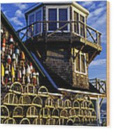 Maritime Lookout Acadia Maine Wood Print