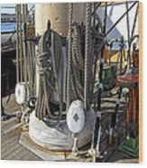 Maritime Pulley And Rope Work Wood Print