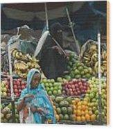 Market Of Djibuti-2 Wood Print by Jenny Senra Pampin