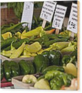 Market Peppers Wood Print