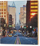 Market Street In The Morning Wood Print