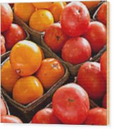 Market Tomatoes Wood Print by Lauri Novak
