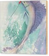 Marlin On The Hook Wood Print