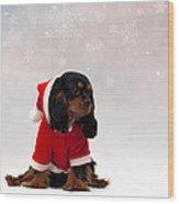 Marmaduke On Snow Background Wood Print by Jane Rix