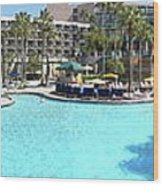 Marriott Hotel Swimming Pool Panorama Orlando Fl Wood Print
