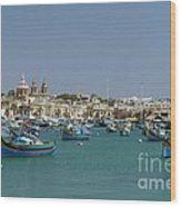 Marsaxlokk Harbour Wood Print