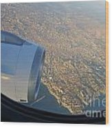 Marseille City From An Airplane Porthole Wood Print