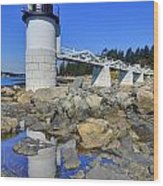 Marshall Point Light Reflection Wood Print