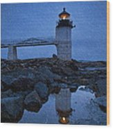 Marshall Point Lighthouse In Winter Storm. Wood Print