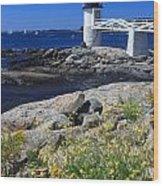 Marshall Point Lighthouse Summer Flowers Wood Print