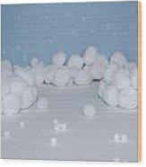 Marshmallow Fight Wood Print