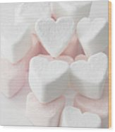Marshmallow Love Hearts Wood Print by Kim Haddon Photography