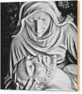 Mary Cradling Jesus Wood Print