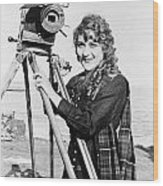 Mary Pickford (1893-1979). Born Gladys Mary Smith. American Actress, With A Movie Camera On A Beach, C1916 Wood Print