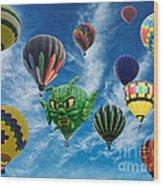 Mass Hot Air Balloon Launch Wood Print
