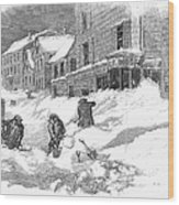 Massachusetts: Blizzard Wood Print