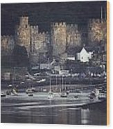 Massive Eight-towered Castle Looms Wood Print