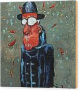 Matisse Juggling Fish In The Rain In His Brain Wood Print by Charlie Spear