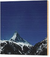 Matterhorn Switzerland Blue Hour Wood Print