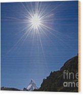 Matterhorn With Sunbeam Wood Print