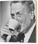Mature Man Drinking Cup Of Coffee Wood Print