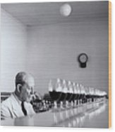 Mature Wine Tester With Row Of Glasses (b&w) Wood Print