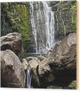 Mauis Wailua Falls And Rocks Wood Print