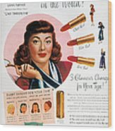 Max Factor Lipstick Ad Wood Print by Granger