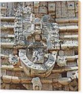 Mayan Architectural Details At Uxmal Mexico Wood Print