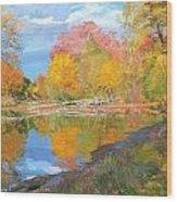 Mayslake At Fall Wood Print by Judith Barath