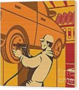 Mechanic Automotive Repairman Retro Wood Print
