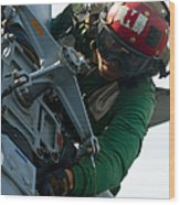 Mechanic Inspects An Mh-60r Sea Hawk Wood Print by Stocktrek Images