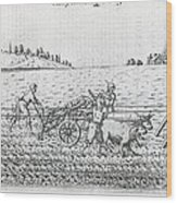 Mechanised Plough, 16th Century Artwork Wood Print by Middle Temple Library