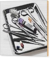 Medical Equipment On A Tray Wood Print