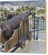 Medieval Cannon At The Balcon De Europa Wood Print