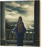 Medieval Lady Watching The Sea Wood Print