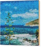 Mediterranean View Wood Print