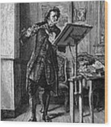 Meissonier: Flute Player Wood Print