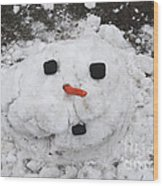 Melting Snowman Wood Print