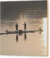 Men On A Raft Fishing Wood Print