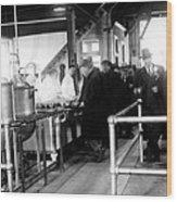 Men Wait In Line For Food Wood Print