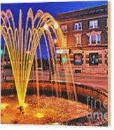 Menasha Lighted Fountain Wood Print