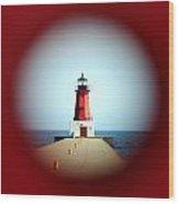 Menominee Lighthouse Through A Rivet Hole Wood Print