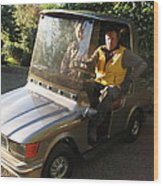 Mercedes Golf Cart Wood Print