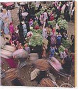Merchants At Saqqaras Market Carry Wood Print