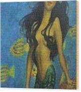 Mermaid Wood Print by Alexandro Rios