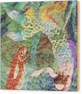 Mermaid And Fish Wood Print by Nicole Besack