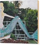 Mermaid Billboard Wood Print
