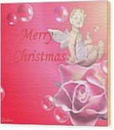 Merry Christmas Cherub And Rose Wood Print